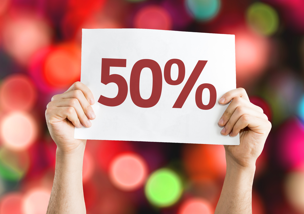 50% card with colorful background with defocused lights