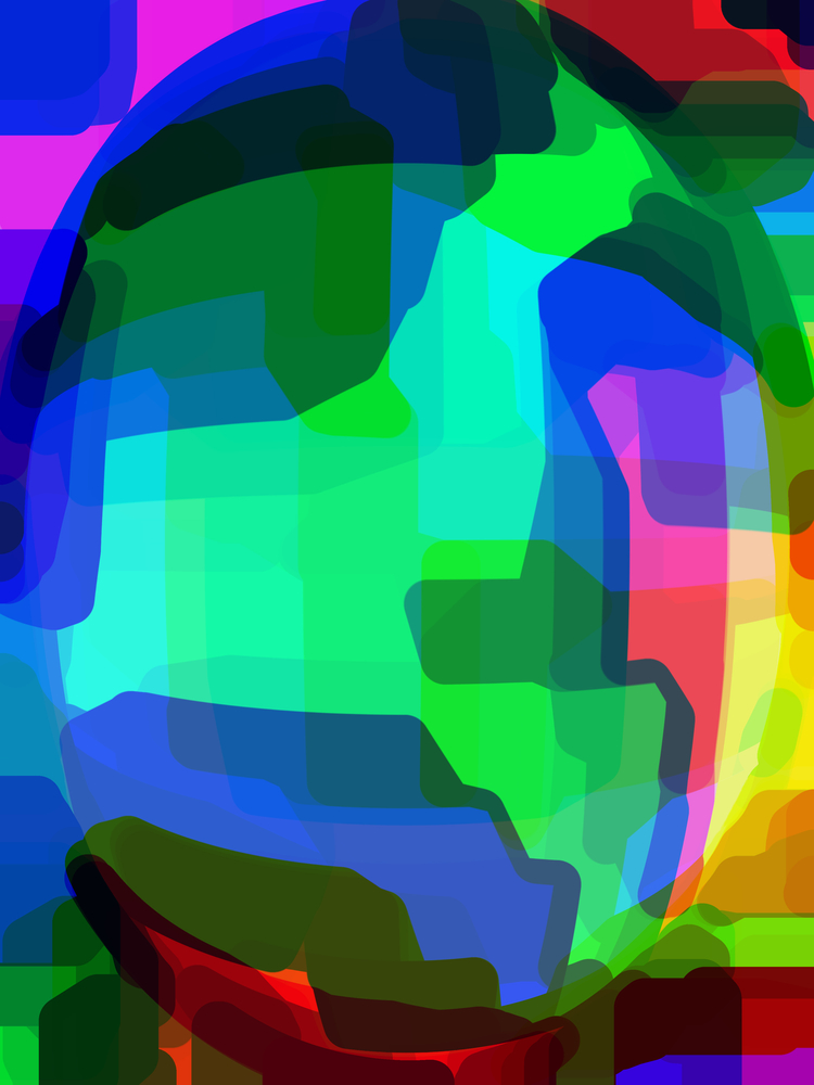 Abstract of multicolored face of an android