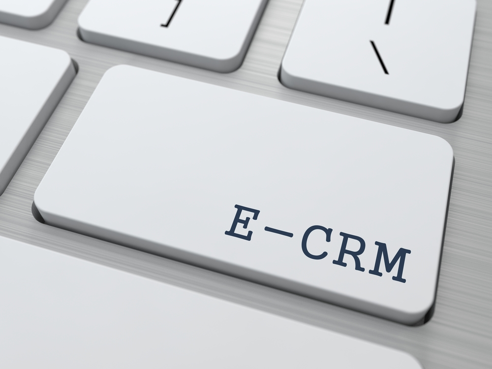 E-CRM. Information Technology Concept. Button on Modern Computer Keyboard. 3D Render.-1