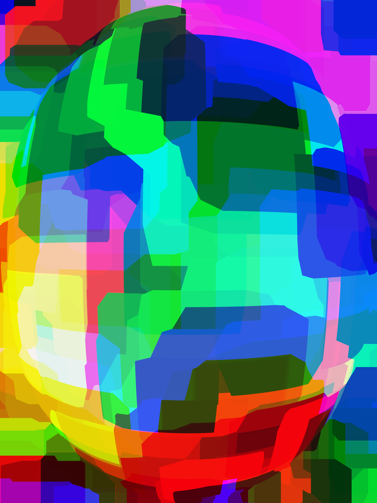 Futuristic multicolored abstract of android face