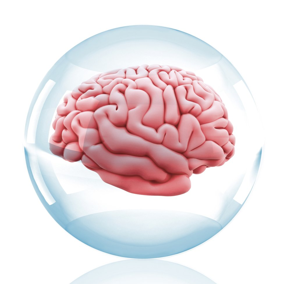 3D Human brain inside a crystal ball - isolated over a white background