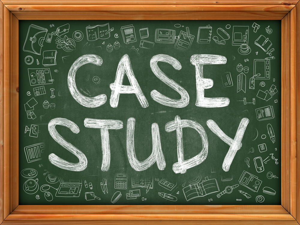 Case Study - Hand Drawn on Green Chalkboard with Doodle Icons Around. Modern Illustration with Doodle Design Style.