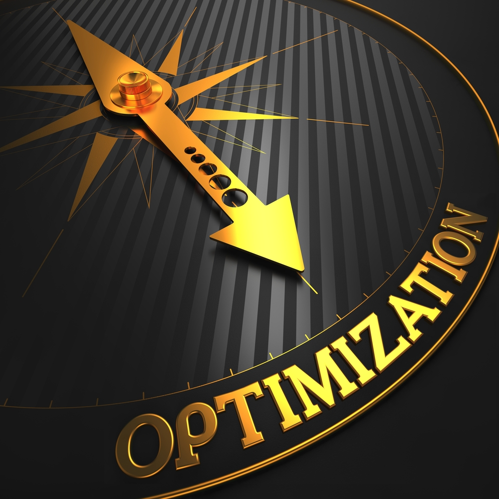 Optimization - Business Concept. Golden Compass Needle on a Black Field Pointing to the Word Optimization. 3D Render.