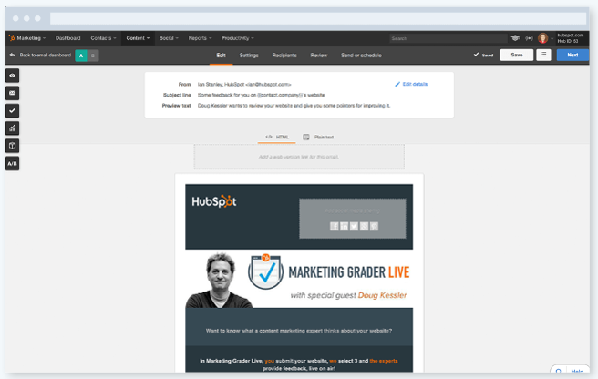 hubspot marketing email